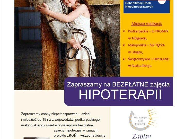 KOŃ - wszechstronny rehabilitant ciała i ducha. Edycja III - BEZPŁATNE ZAJĘCIA HIPOTERAPII