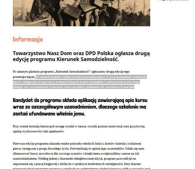 Towarzystwo Nasz Dom oraz DPD Polska ogłasza drugą edycję programu Kierunek Samodzielność