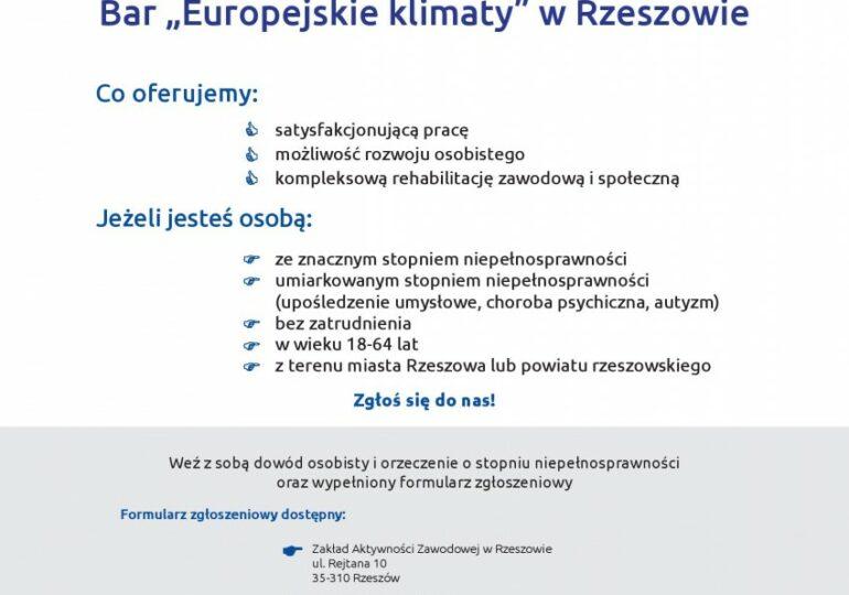 Ogłoszenie Zakładu Aktywności Zawodowej w Rzeszowie