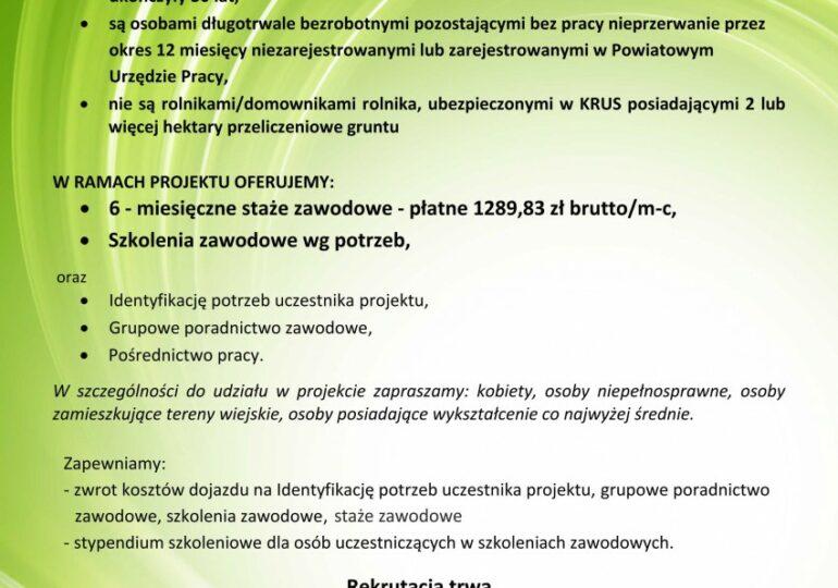 """Informacja na temat projektu pn. """"Szkolenie – staż – etat - edycja II"""""""